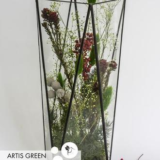 Ваза стеклянная с бруниями «Gray brunia»