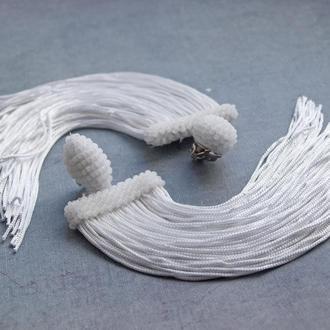 Белые серьги в стиле Оскар де ла Рента Серьги бахрома Длинные серьги Серьги для танцев Клипсы
