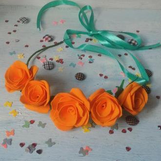 Веночек из роз оранжевый, украшение для волос, венок