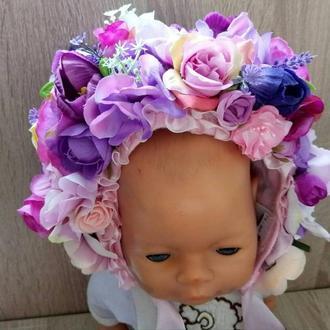 Шапочка с цветами для фотосессии Веночек для младенцев Фотосессия для новорожденных  до года Лиловый