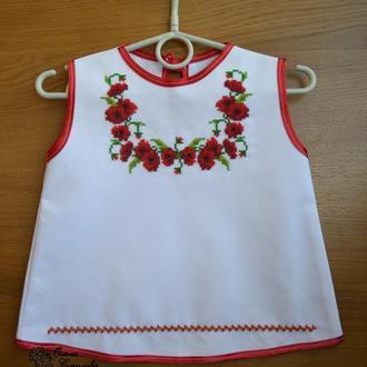 Вышитое бисером платье до 1 года