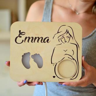 Деревянный ночник-фоторамка для первого УЗИ снимка малыша - Emma