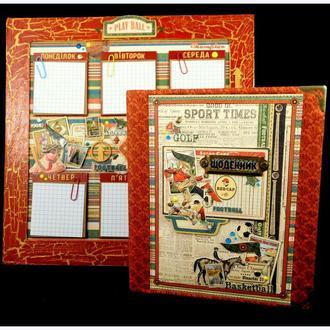 Расписание уроков + Обложка для школьного дневника. Ручная работа.