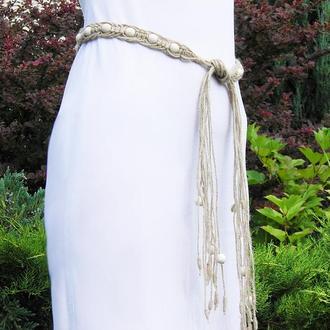 Пояс из джута с белыми деревянными бусинами Ручная работа