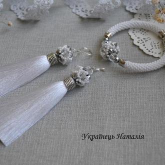 Комплект (браслет и серьги кисти)