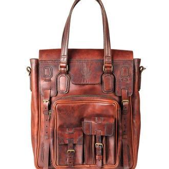 сумка шкіряна Джиммі, воскована, тоте | JIMMY WAX BROWN BAG