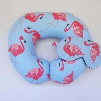 Дорожная подушка на шею - фламинго