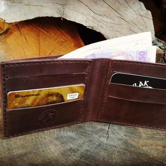 """Класичний шкіряний чоловічий гаманець """"Отар"""", ручної роботи, натуральна шкіра, кожаный кошелек,"""