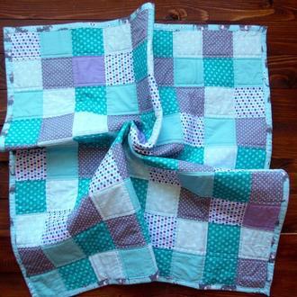 Демисезонный плед из квадратов для мальчика, 77х77см