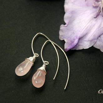 """""""Rose Quartz Drops"""" серебряные серьги с розовым кварцем"""
