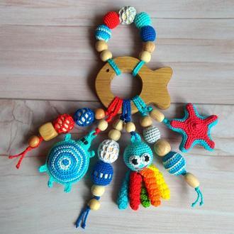 Развивающая игрушка, грызунок прорезыватель вязаная игрушка ручная работа, подарок малышу мальчику