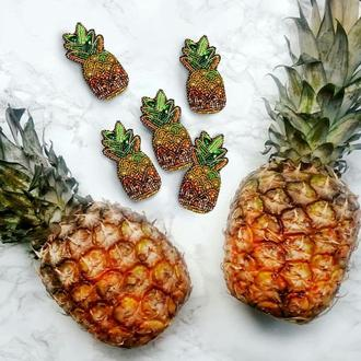 Брошь ананас из бисера