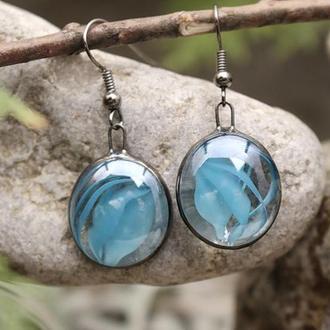 Серьги голубые круглые Подарок девушке