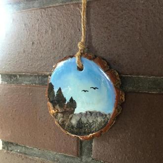Деревянная мини-картина ручной работы на древесине из Ольхи.
