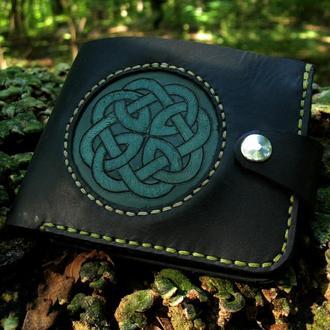 Гаманець шкіряний, гаманець зі шкіри, гаманець чоловічий, гаманець чорний, гаманець з гравіюванням