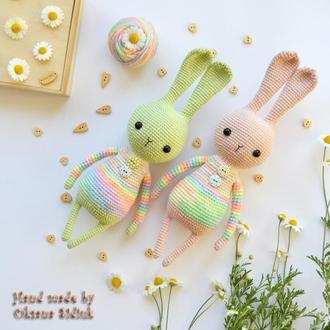 Іграшка зайчик В'язаний зайчик Рожевий зайчик Салатовий зайчик Іграшка кролик В'язаний кролик