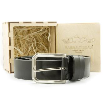Подарочный набор мужчине. Чёрный итальянский ремень под джинсы, коробочка, индивидуальная гравировка