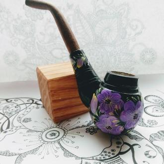 Сувенирная курительная трубка с Петриковской росписью