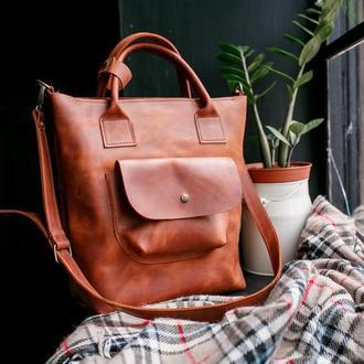 Шкіряна сумка жіноча для ноутбука сумка велика із натуральної шкіри сумка
