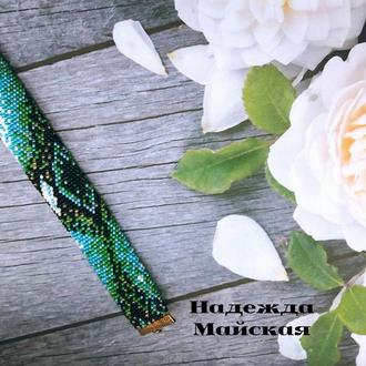 Авторское украшение на руку из бисера жгут-браслет Глаз Атлантиды