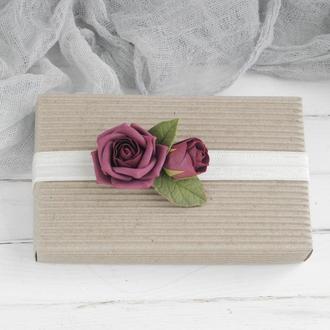 Повязка детская с розами, бордовая повязка для малышки