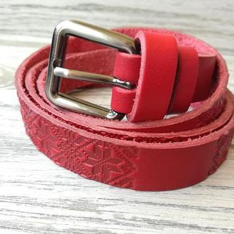 Женский кожаный ремень красная вышиванка