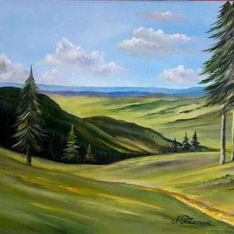 Картина маслом на холсте. Лето в горах.