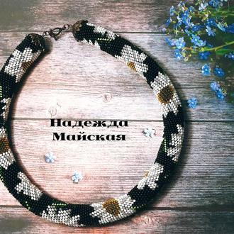 Авторское украшение на шею из бисера жгут-колье Осенные ромашки