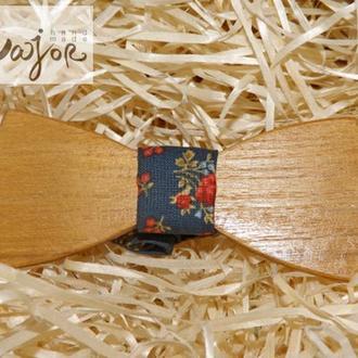 Деревянная бабочка Классик темно-синий цветочный принт