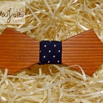 Деревянная бабочка Ретро темно-синий горох