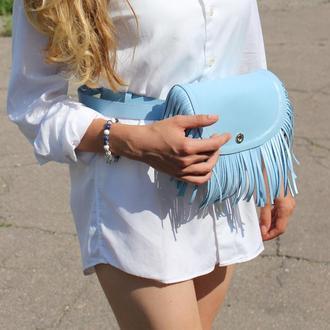Женская поясная сумка с бахромой