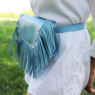 Кожаная женская поясная сумка с бахромой