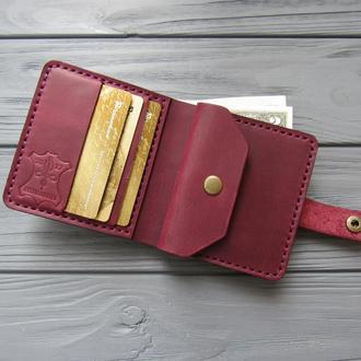 Кожаный женский кошелёк LANA_марсала_420