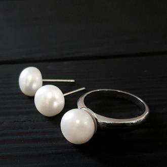 Срібний комплект прикрас з натуральними білими перлами кольцо серебряное с жемчугом серьги жемчугом