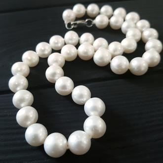 Намисто з натуральних білих перлів у сріблі бусы из натурального жемчуга свадебное колье жемчужное