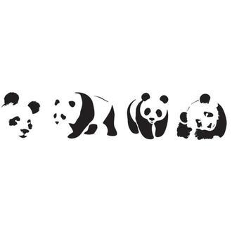 Трафарет многоразовый 11х33 см Мишки панды