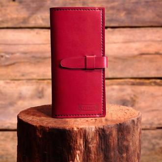 Женский кошелек из натуральной кожи ягодного цвета RUMBA