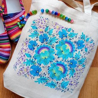 Текстильная эко-сумка ручная Петриковская роспись