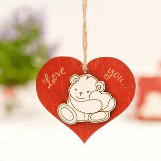 Подвеска из дерева Love you Мишка с сердечком