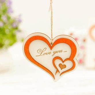 Подвеска из дерева Два сердца Love you