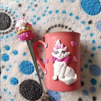 """Комплект декорированной полимерной глиной ложки с чашкой """"Влюблённая кошечка"""""""