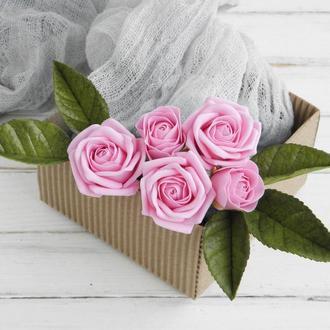 Набор шпилек с розами 7 шт, Свадебные шпильки для волос розовые, Цветы в прическу