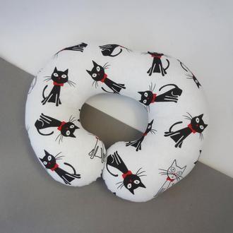 Двухсторонняя подушка для путешествий, дорожная подушка, в дорогу из плюша и хлопка - котики