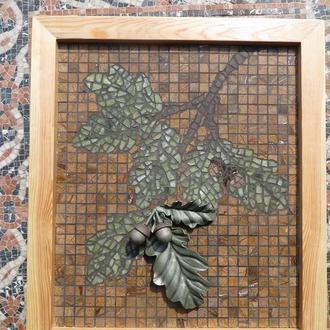 Лист дуба. Авторская картина-мозаика
