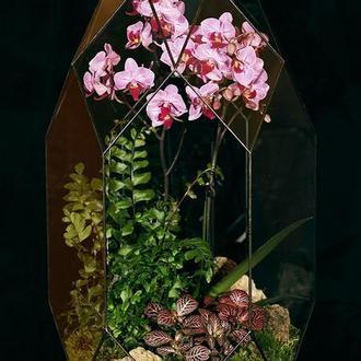 Кристалл большой с орхидеей