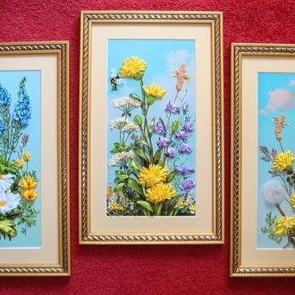 """Триптих """"Полевые цветы"""""""