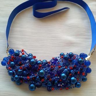 Воздушка,  синие бусы из бисера, подарок девушке