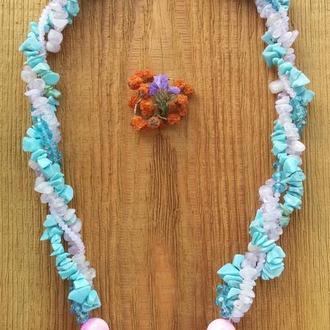 """Ожерелье """" Летняя нежность"""" из самоцветов"""