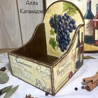 Короб «Вино и виноград» для хранения специй в пакетиках