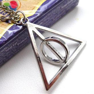 Кулон Дары Смерти из Гарри Поттера на цепочке (вращающийся центр), подвеска из Гарри Поттера,